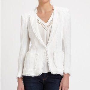 Rebecca Taylor Tweed Blazer in White